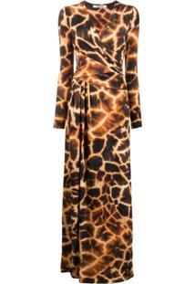 Roberto Cavalli Vestido Longo Com Estampa De Girafa - Marrom