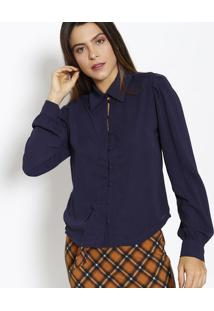Camisa Lisa Com Botões- Azul Marinho- Estilo Hestilo H