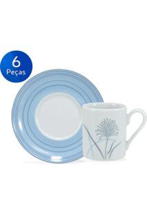 Conjunto 6 Xícaras De Café Com Pires Karina - Schmidt - Branco / Azul
