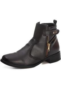 Bota Luxx Shoes Lisa Cano Curto Zíper Estilo Feminina - Feminino-Marrom Escuro