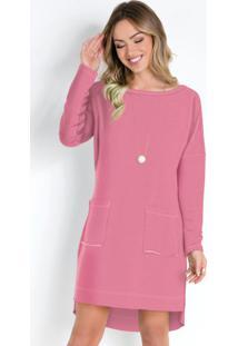 Vestido Rosa Claro Com Bolsos Frontais