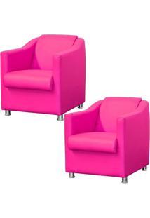 Kit 02 Poltronas Decorativas Para Sala E Escritório Laura L02 Corino Pink - Lyam Decor