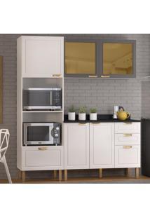 Cozinha Completa 4 Peã§As Americana Multimã³Veis 5908 Branco/Grafite - Branco/Incolor - Dafiti