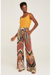 Calça Pijama Boho Feminina - Feminino-Marrom+Amarelo
