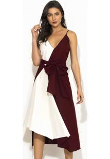 Vestido Linho Bicolor Vinho