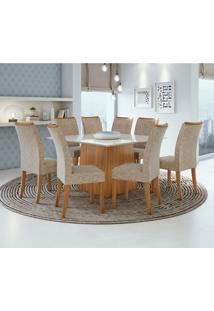 Conjunto De Mesa De Jantar Nevada Com 8 Cadeiras Atacama Ll Velvet Off White E Bege