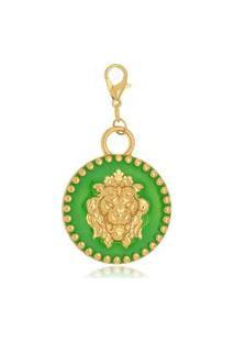 Pingente Le Diamond Medalha De Leáo Verde