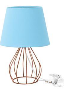 Abajur Cebola Dome Azul Bebe Com Aramado Cobre