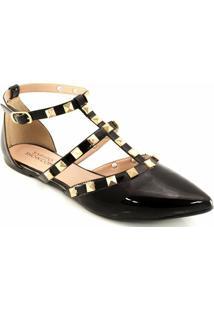 Sandalia Spikes Envernizada Sapato Show 2101 - Feminino-Preto