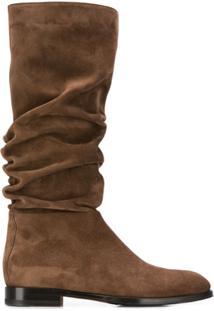 Santoni Ankle Boot Com Detalhe Franzido - Marrom