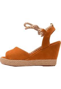 Sandália Eleganteria Anabela Nobuck Marrom - Kanui
