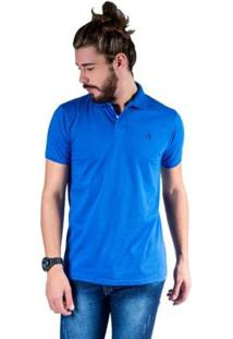 Camisa Polo Hipica Polo Club Meia Malha Coton Masculina - Masculino-Azul Royal