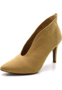 Sapato Scarpin Abotinado Salto Alto Fino Em Nobucado - Bege/ - Feminino - Dafiti