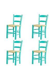 Kit 4 Cadeiras Lagiana Pequenas Eucalipto Turquesa Assento Palha - 59467 Preto
