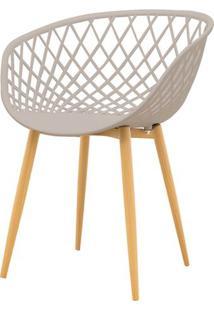 Cadeira Clarice Assento Em Polipropileno Nude Com Base Palito Cor Madeira - 51839 - Sun House