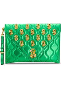 Moschino Clutch Dollar Sign - Verde