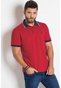 Camisa Polo Actual Vermelha Com Detalhes Na Gola