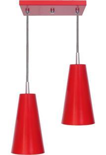 Pendente Cone Mini Tóquio Duplo Vermelho Attena