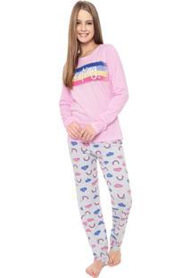 Pijama Malwee Liberta Sleeping Rosa/Cinza