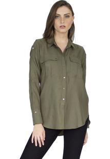 Camisa The Style Box Abotoamento Manga - Verde Militar