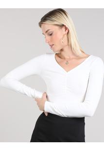 Blusa Feminina Básica Decote V Com Franzido Cinza Mescla