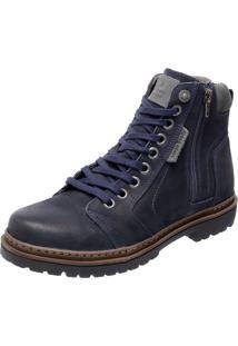 Bota Coturno Em Couro Mega Boots 6015 Azul Marinho