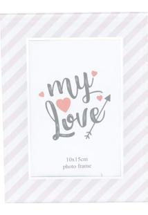 Porta Retrato Love Line- Branca & Rosa- 17,27X9,27X9Urban