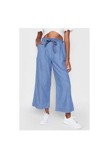 Calça Jeans Mercatto Pantacourt Amarração Azul