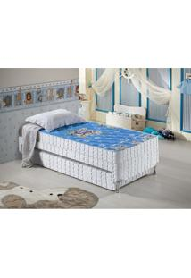 Cama Box Infantil Anjos Mike Com Bicama 88X188X51 Cm - Branco/Azul