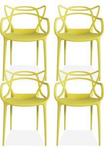Kit 04 Cadeiras Decorativas Lyam Decor Amsterdam Amarelo.