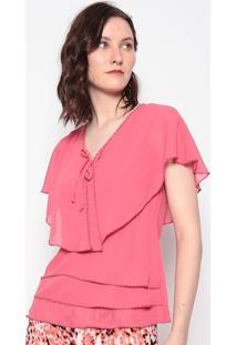 Blusa Lisa Com Sobreposiã§Ã£O- Pink- Fashion 500Fashion 500