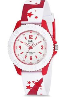 Relógio Infantil Pulso Q&Q Japan Analógico Desenhos Feminino - Feminino-Branco+Vermelho