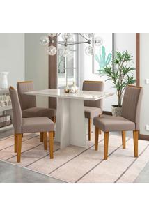 Conjunto De Mesa De Jantar Com Tampo De Vidro E 4 Cadeiras Ana Ii Veludo Off White E Bege