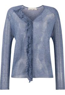 L'Autre Chose Blusa De Tricô Com Babados - Azul