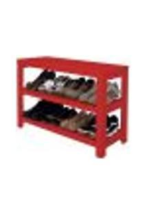 Sapateira Banco | Banqueta De Piso Para Closets E Quartos 8 Pares Sapatos - Vermelho Laca