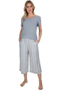 Pijama Pantacourt Striped Feminino - Feminino-Cinza