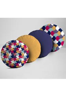 Kit 4 Almofadas Redondas Elementos Geométricos Coloridos