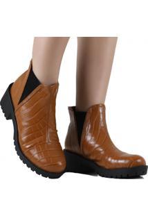 Bota Zariff Shoes Chelsea Animal Print Marrom