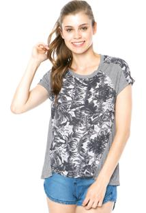 Blusa Hang Loose Night Flower Cinza