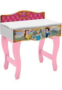 Penteadeira Princesas Disney Premium Branco/Rosa Pura Magia