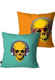 Kit Com 2 Capas Para Almofadas Pump Up Decorativas Colors Caveiras 45X45Cm