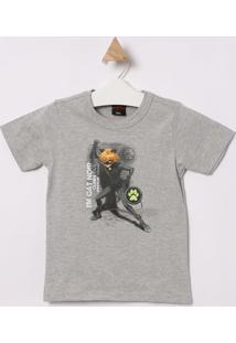 Camiseta Cat Noir® - Cinza & Preta - Malwee Kidsmalwee