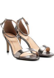 Sandália Couro Shoestock Salto Fino Feminina - Feminino-Chumbo