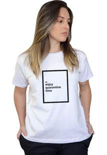 Camiseta Boutique Judith Enjoy Quarantine Time Branco - Kanui