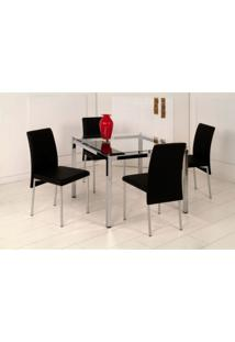 Conjunto De Mesa Com 4 Cadeiras Bia Preto