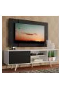 Rack Madesa Dubai Com Pés E Painel Para Tv Até 58 Polegadas - Branco/Preto 7377
