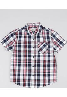 Camisa Infantil Estampada Xadrez Com Bolso Manga Curta Branca
