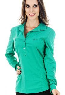 Camisa Tricoline Cia De Moda Stretch Verde Jade