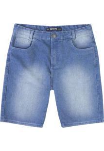 Bermuda Jeans Masculina Slim Com Lavação