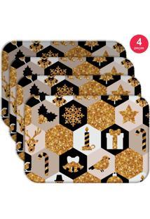 Jogo Americano Love Decor Wevans Natal Moderno Kit Com 4 Pçs